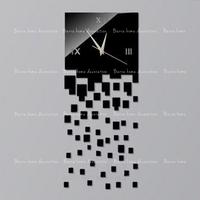 2014 new decorative black wall clock contemporary style square 25x65 cm size silver