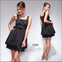 HE01400 Ever Pretty Special Discount Women's  Ever-Pretty Black Designer Puff Mini Cocktail Dress