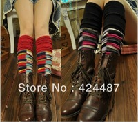 New 2013 autumn winter rabbit fur knitted colorful plaid leg warmers for women, long gaiters