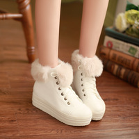 Drop Shiping 2013 New Autumn&Winter Pu Leather Sneakers For Women Warm Rabbit Hair Casuals High-Top Martin Shoes