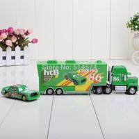 Total 2pcs  truck + car Pixar Cars 2 Mack hauler MACK TRUCK   small Chick Hick + HT86 make