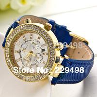 Big Promotion 2014 New Retail Women Dress Watches,Hot Sale Geneva Women Rhinestone Watch, Leather Strap Quartz Wrist Watches