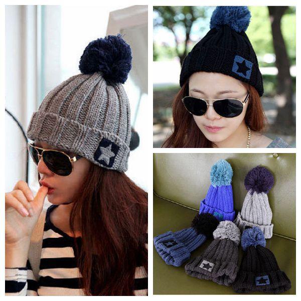 fashion bonnet skullies and beanies women star pentagram pompon wool knitted hat cap men winter hat beanie gorro toucas m
