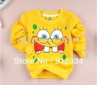 Lower price retail lovely yellow spongebob baby boys girls cartoon clothing long sleeve cotton sweater children's sweatshirts