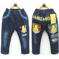 Retail 1PCS <#1  For 3-7Y) Boys' Jeans Cartoon Yellow Duck Jeans Fashion Children's Jeans Kids' Trouser 2013 New Style Autumn