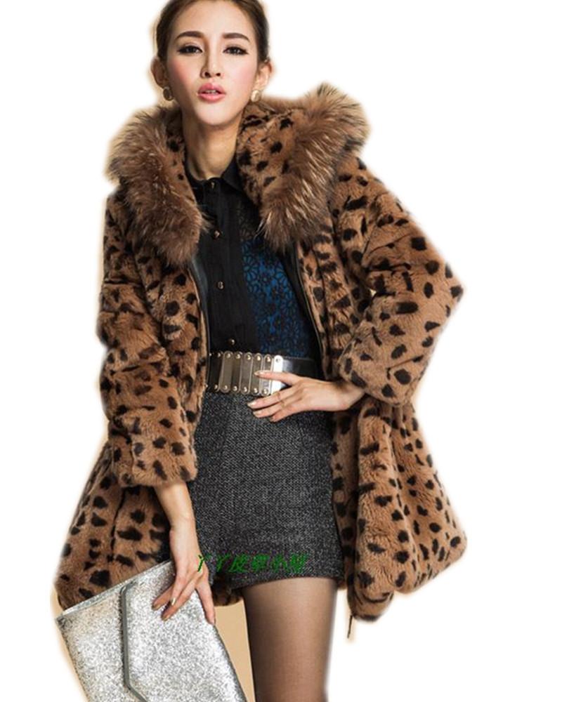 C500-slim fur coat of genuine rex rabbit fur natural raccoon hooded,medium-long female winter fall jacket,fur coat leopard print(China (Mainland))