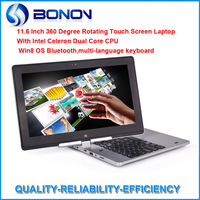 11.6 inch Rotating Capacitive Touch Screen Win8 OS Laptop/Notebook 4GB RAM+320GB HDD+BT+Multi-Languages Keyboard