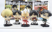 Attack On Titan 2 inch PVC Figure 5pcs/set  New Products For 2013 Toy Free Shipping