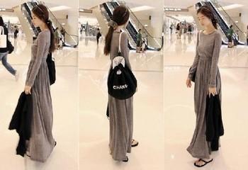 Autumn and winter 2014 women's long design one-piece dress long-sleeve dress full dress