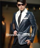 Spring 2014 Fashion Men's Vintage Genuine Leather Suit Black White Sheepskin Leather Suit Jackets  C2010