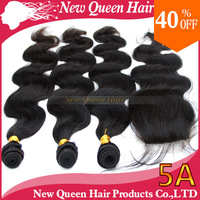 Brazilian virgin remy hair 1 Piece Lace Top Closure with 3Pcs Bundle 4pcs lot Body Wave Mixed length new queen star products