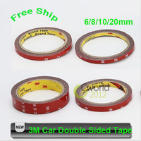 Free Shipping 3M Automotive Vehicle Double Sided Sticker Car Two Side Adhesive Acrylic Foam Tape Trim 6mm/8mm/10mm/20mm