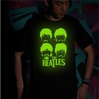 Recommend ! Hotsell 2013 Fashion New summer Short-sleeved Punk Nightclubs glow T-shirt of The Beatles Band, t shirt for men