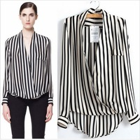 2014 Unique Long Sleeve Chiffon Stripes No Botton Clothes Women Blouses Shirts Tops Blouse Camisas Top Women Free Shipping 1067