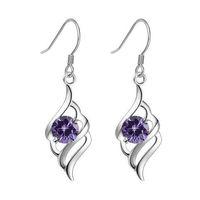 New Fancy Angle Wing Purple Amethyst Gem Dangle 925 Sterling Silver Earrings Ear stud Jewellery earrings for women 261883
