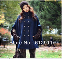 Winter  Free Shipping Hot Sale fashion Winter women's double-breasted Batwing Cape Wool Poncho Coat Jacket