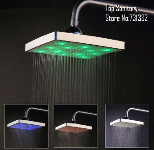 6 inch square LED shower head exquisite chrome shower head LED lights massager chuveiro ducha douche banheiro torneira 9051-2(China (Mainland))