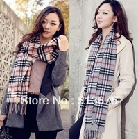Free shipping 2013 Fall/winter New big plaid warm scarf shawl wool autumn acrylic scarf ladies scarves