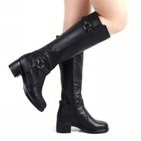 Free shipping Genuine leather winter boots cowhide high-leg boots women's cotton boots.