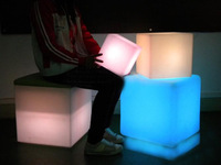 LED cube  light chair bar stools 40cm