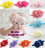 13 Colors NEW  Infant Baby Toddler Rose Flower Pearl Headband Headwear Hair Band Head Piece Accessories 16pcs/lot FREE CPAM