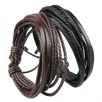 Leather Rope Multilayer Wrap bracelet & bangles Bracelet for men and women fashion jewelry bangles free shipping Pulseira(China (Mainland))