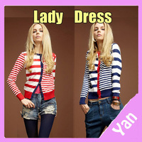 Free Shipping! 2013 Autumn Winter Women Knitted Blouses Long Sleeve Army Striped Patterns Sweaters Christmas Cardigan Coat Y6097
