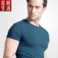 new 2014 t shirt high-elastic cotton men's t shorts sleeve v neck shirt male T-shirt casual shirt
