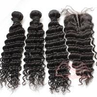Brazilian Virgin Hair Deep Wave 3pcs Human Hair Weave Bundles With 1pcs Lace closure Hair Extension