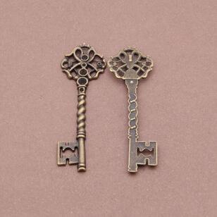En alliage de zinc plaqué bronze charmes diy,( 30pcs) metal accessoire bijoux pendentif clé, gros pendentif pour la fabrication de bijoux( 1249#) 67*20