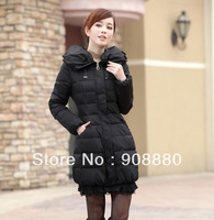 Down & Parkas Women's medium-long down coat down jacket female winter lace decoration Women's Clothing