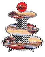 SALE! Free shipping 1 sets Car birthday baby shower party Decorations,cardboard cake stand hold 24 cupcakes A06