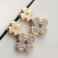 Luxury jewelry wholesale fashion Hollow rose gold four leaf clover rhinestone drop dangle earrings for women gifts free shipping