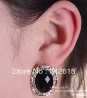 Fashion small accessories vintage black gem stone stud earring female elegant earrings