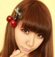 Min order $10 Hot 2015 new fashion jewelry Lovely cherry bow side folder duckbill clip hairpin hair accessories
