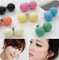 Min Order $10 free shipping Hot new winter fashion 2014 European and American QQ candy ball cute girl earrings for women