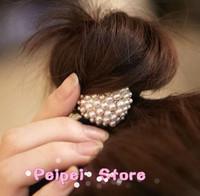 Min order $10 Hot 2015 new fashion jewelry European Hair rope cute bow love crown Pearl Headband Hair Accessories