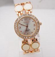 2014 Luxury Rose Gold Tone Clear Crystal Rhinestone Watch Women Ladies Fashion Dress Quartz Wrist Watch TW022