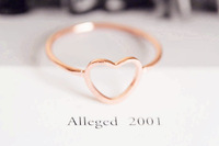 Hollow Gold Hammered Stack big Heart Ring , - Simple Modern Minimal - Slim Ring