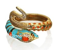 New Hot  FREESHIPPING Anna Dello Russo Blue Rhinestone Snake Bracelet Accessories Fashion Vintage Trendy Whole And Retail