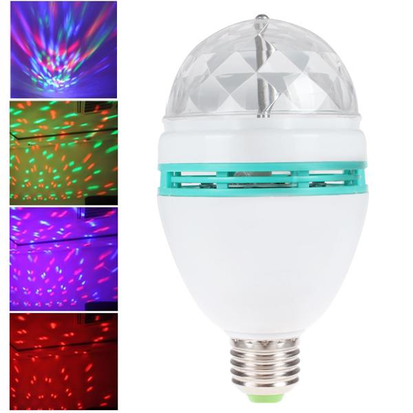 Mini RGB E27 Crystal Rotating magic ball stage light effect RGB LED Lamp Lamps bulb for party Disco DJ Lighting, Free Shipping(China (Mainland))