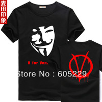 free shipping v for vendetta men's t-shirt short sleeves
