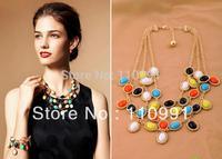 2013 New Exaggerated Fashion Big Choker Bib Chunky Gorgeous Amazing Resin Rhinestone Statement Necklaces Jewelry Sets