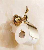 Luxury gold toilet paper holder bathroom tissue dispenser with lib European style carved embossed stainless steel roll holder