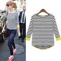 Free shipping new 2013 autumn -summer fresh fashion asymmetrical sweep loose o-neck stripe color block t-shirt basic shirt