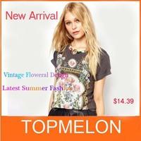New 2014 Ladies's Summer Fashion Vintage Flower Print T-shirt Casual Short-sleeve outwear Cotton T-shirt