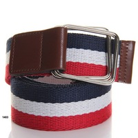 Free Shipping Top-quality Men's fabric belt with double loop buckle stripe casual belt for men