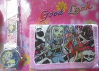 2014 new Free shipping 3pcs/lot cartoon electronic watches + wallets Monster High purse watch