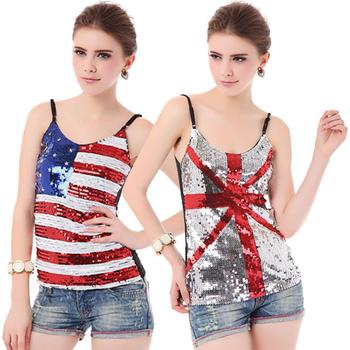 British flag spaghetti strap tanks t shirt women, American Flag paillette women's ...