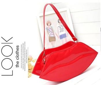 women fashion sexy Messenger bag evening handbags mini lip clutches bags lady elegant vintage wallet red orange shoulderbags